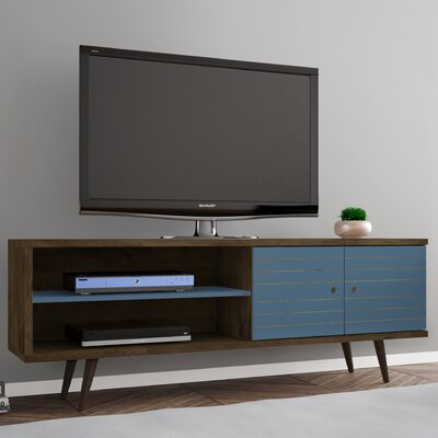 Lewis 62.99 Mid Century - Modern TV Stand with 3 Shelves and 2 Doors in White  with Solid Wood Legs Color: Rustic Brown/Aqua Blue