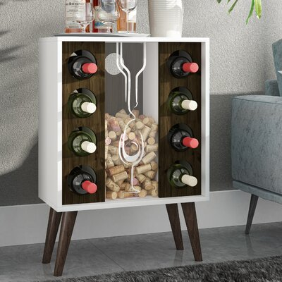 Kory 8 Bottle Floor Wine Cabinet and Display Finish: White/Rustic Brown