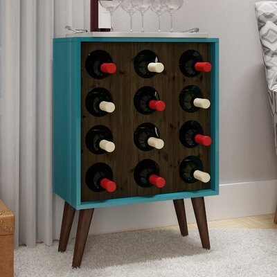 Kory 12 Bottle Floor Wine Cabinet and Display Finish: Aqua/Rustic Brown