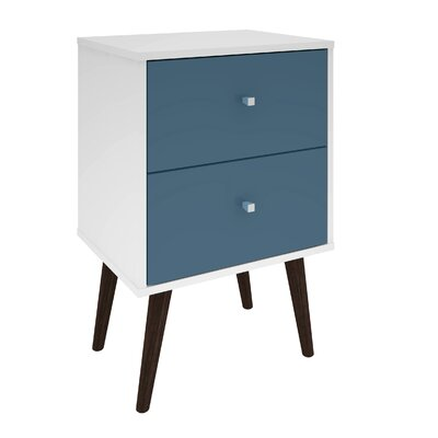 Lewis Mid Century Modern 2 Drawer Nightstand Color: White/Aqua Blue