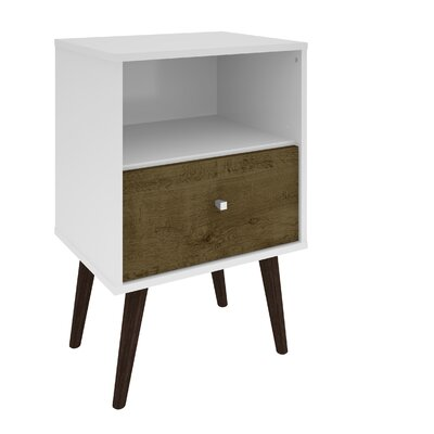 Lewis Mid Century Modern 1 Drawer Nightstand Color: White/Rustic Brown