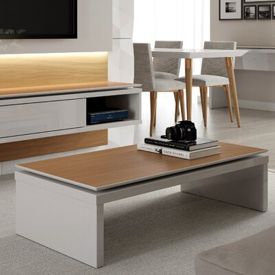 Franklin Rectangle Coffee Table Color: Off White/Maple Cream