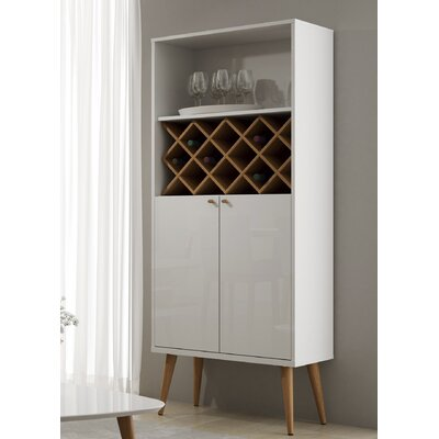 Lemington 10 Bottle Floor Wine Rack China Storage Closet with 4 Shelves Color: White Gloss/Maple Cream