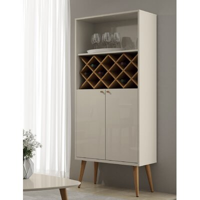 Lemington 10 Bottle Floor Wine Rack China Storage Closet with 4 Shelves Color: Off White/Maple Cream