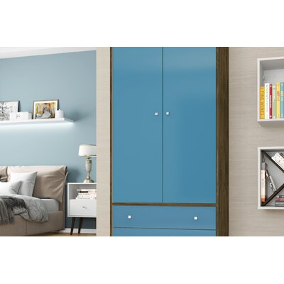 Lewis Mid Century Modern Armoire Color: Rustic Brown/Aqua Blue