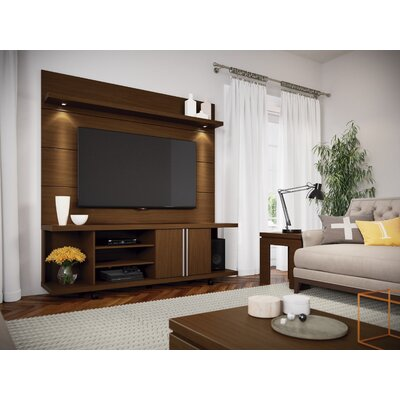 Lucca 71 TV Stand and Floating Wall TV Panel with LED Lights Color: Nut Brown