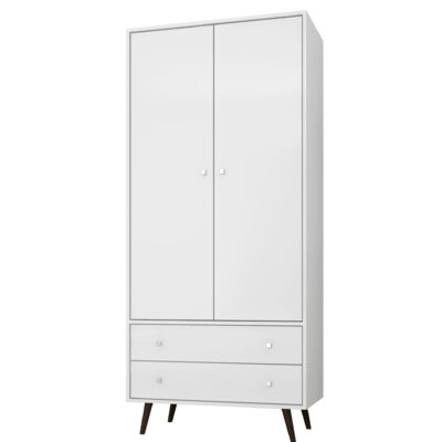 Lewis Mid Century Modern Armoire Color: White