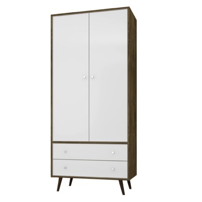Lewis Mid Century Modern Armoire Color: Rustic Brown/White