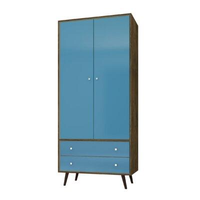 Lewis Mid Century Modern Armoire Color: Rustic Brown/Aqua Blue