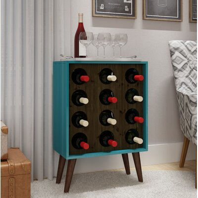 Kory 8 Bottle Floor Wine Cabinet and Display Color: Aqua/Rustic Brown
