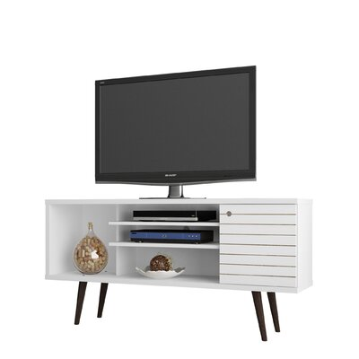 Lewis Mid Century Modern 53 TV Stand with 5 Shelves and 1 Door Color: White