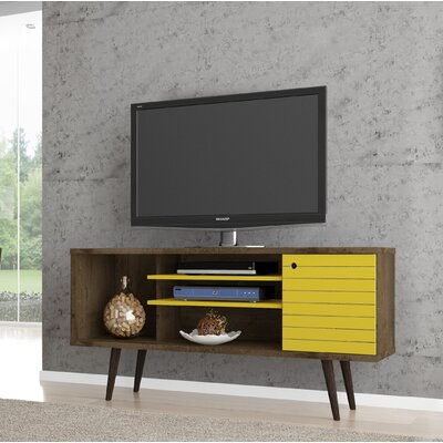 Lewis Mid Century Modern 53 TV Stand with 5 Shelves and 1 Door Color: Rustic Brown/Yellow