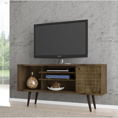 Lewis Mid Century Modern 53 TV Stand with 5 Shelves and 1 Door Color: Rustic Brown