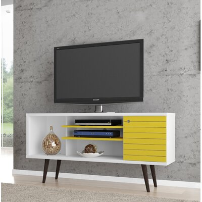 Lewis Mid Century Modern 53 TV Stand with 5 Shelves and 1 Door Color: White/Yellow