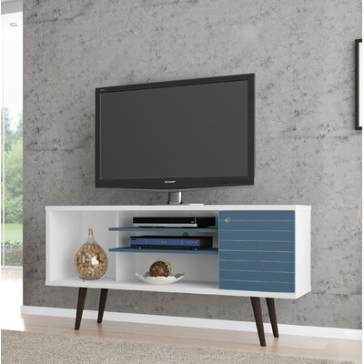 Lewis Mid Century Modern 53 TV Stand with 5 Shelves and 1 Door Color: White/Aqua Blue