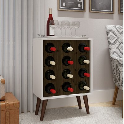 Kory 12 Bottle Floor Wine Cabinet and Display Finish: White/Rustic Brown