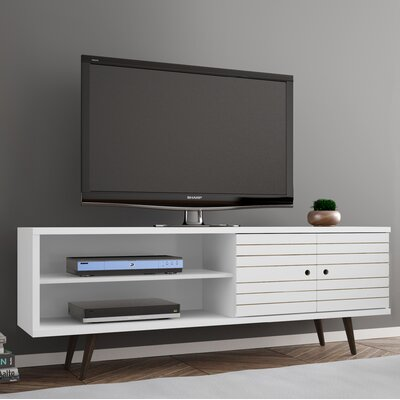 Lewis 62.99 Mid Century - Modern TV Stand with 3 Shelves and 2 Doors in White  with Solid Wood Legs Color: White