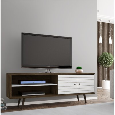 Lewis 62.99 Mid Century - Modern TV Stand with 3 Shelves and 2 Doors in White  with Solid Wood Legs Color: Rustic Brown/White