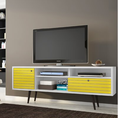 Lewis Mid Century Modern 70.86 TV Stand with 4 Shelving Spaces and 1 Drawer Color: White/Yellow
