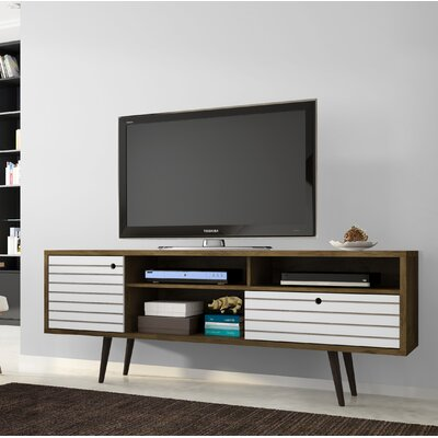 Lewis Mid Century Modern 70.86 TV Stand with 4 Shelving Spaces and 1 Drawer Color: Rustic Brown/White