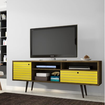 Lewis Mid Century Modern 70.86 TV Stand with 4 Shelving Spaces and 1 Drawer Color: Rustic Brown/Yellow