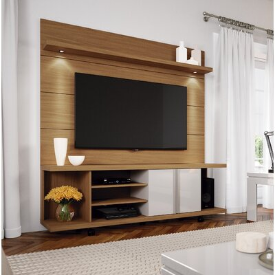 Lucca 71 TV Stand and Floating Wall TV Panel with LED Lights Color: Maple Cream/Off White