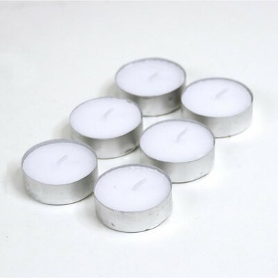 Unscented White Tealight Candle in Metal Cup 424684