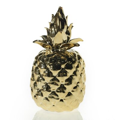 Glass Pineapple Sculpture Color: Gold 23-99740