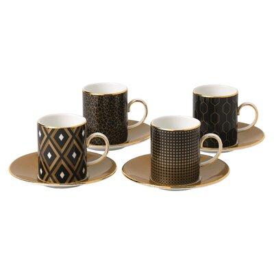 Arris 4 Piece Accent Espresso Cup and Saucer Set 40007553