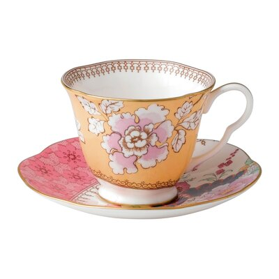 Butterfly Bloom Floral Bouquet Cup and Saucer 091574178752