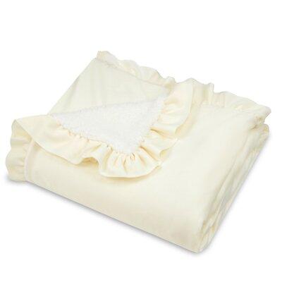 Ruffle Edge Fashion Sherpa Throw Blanket Color: Ivory