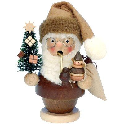 Natural Wood Finish Santa with Tree and Doll Incense Burner