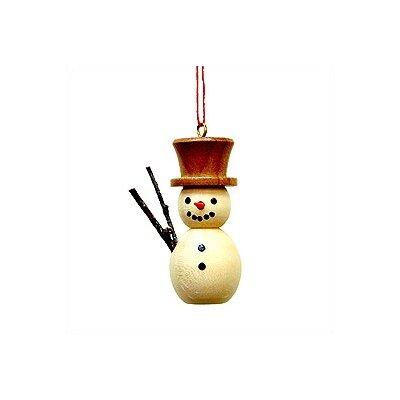 Natural Wood Finish Snowman Ornament