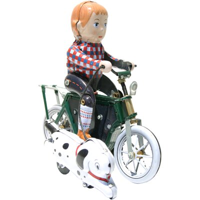 Collectible Decorative Tin Toy Boy on Bike with Dog Motor Cycle MS473
