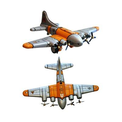 Collectible 2 Piece Decorative Tin Toy Plane Set