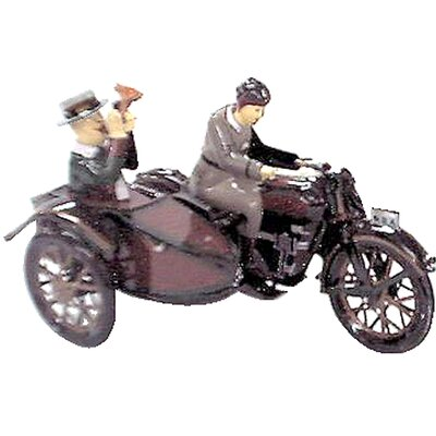 Collectible Decorative Tin Toy Motor Cycle with Passenger in Sidecar MS804