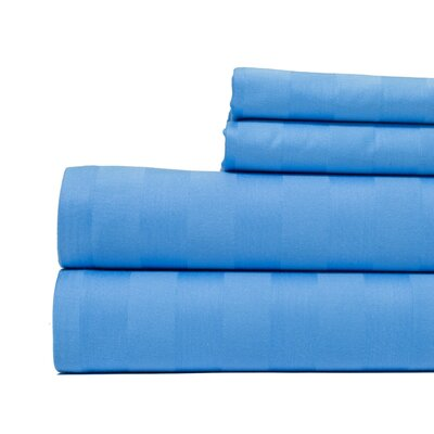 4 Piece 500 Thread Count Egyptian Quality Cotton Sheet Set Size: King, Color: Blue