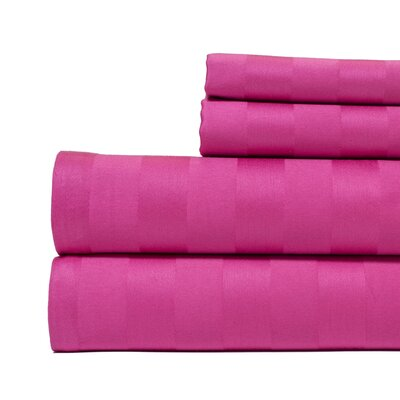 4 Piece 500 Thread Count Egyptian Quality Cotton Sheet Set Size: King, Color: Hot Pink