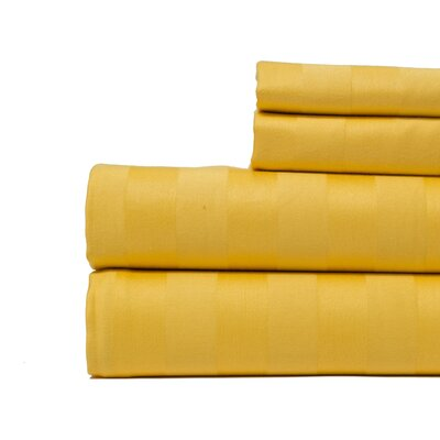 4 Piece 500 Thread Count Egyptian Quality Cotton Sheet Set Color: Sunshine Yellow, Size: King