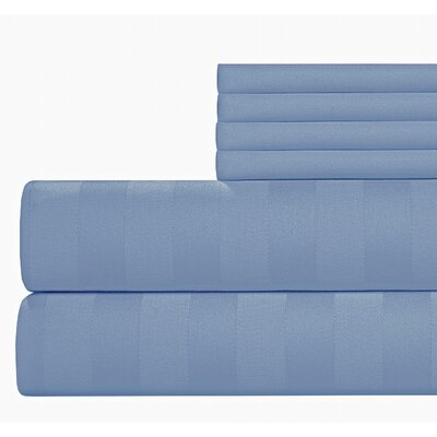 6 Piece 500 Thread Count Egyptian Quality Cotton Sheet Set Color: Blue, Size: California King