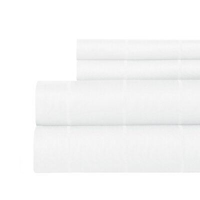 Pin-Stripe 620 Thread Count Egyptian Quality Cotton Sateen Sheet Set Size: Queen, Color: White