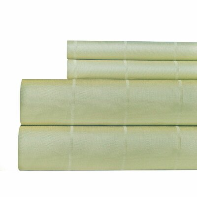 Pin-Stripe 620 Thread Count Egyptian Quality Cotton Sateen Sheet Set Size: Queen, Color: Pebble