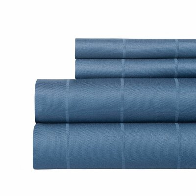 Pin-Stripe 620 Thread Count Egyptian Quality Cotton Sateen Sheet Set Size: Queen, Color: Blue