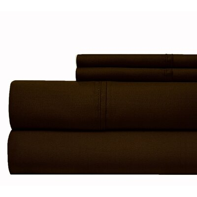 600 Thread Count 100% Cotton Sateen 4-piece Sheet Set Size: Queen, Color: Chocolate