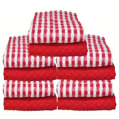 Cotton Terry 10 Piece Towel Set Color: Red