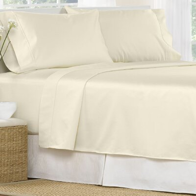 4 Piece 1000 Thread Count Egyptian Quality Cotton Sheet Set Color: Ivory, Size: California King