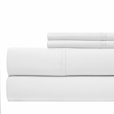 600 Thread Count 100% Cotton Sateen 4-piece Sheet Set Size: Queen, Color: White