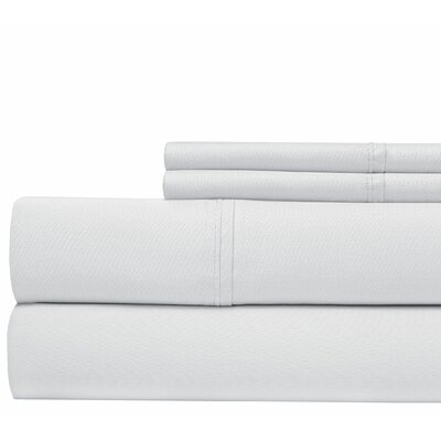 4 Piece 500 Thread Count Sheet Set Color: White, Size: Queen