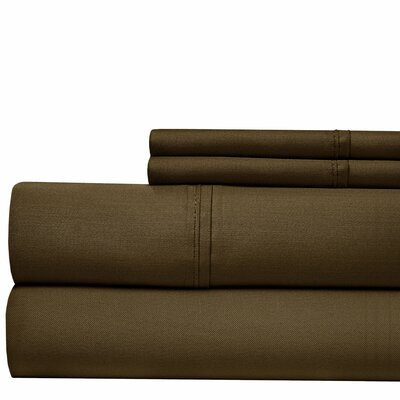 500 Thread Count Cotton Blend Sheet Set Size: Full, Color: Chocolate