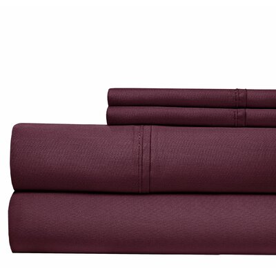 4 Piece 500 Thread Count Sheet Set Color: Plum, Size: California King